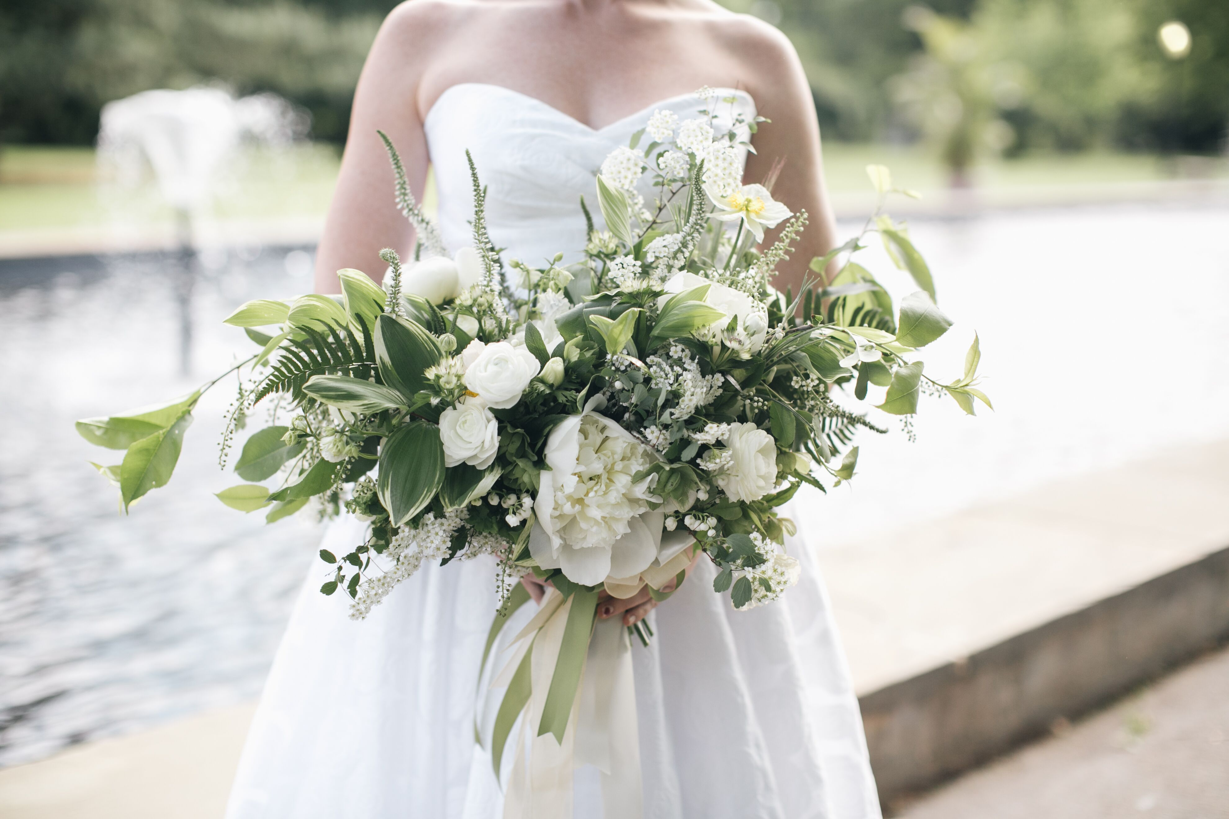 Green And White Natural Bouquet With Peonies