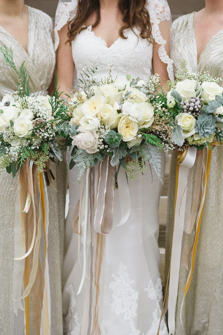Bridal Bouquet Out Of Ribbons : White winter wedding bouquets with ribbon