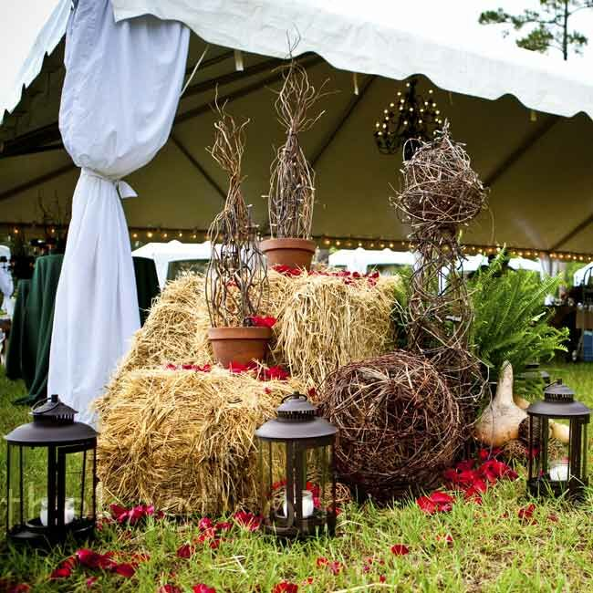 Rustic reception decor for Bales of hay for decoration