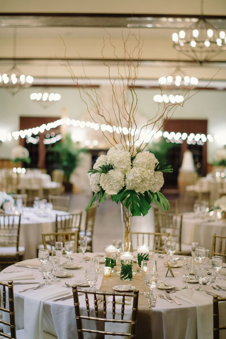 Ivory Hydrangea Palm Leaf And Curly Willow Centerpieces