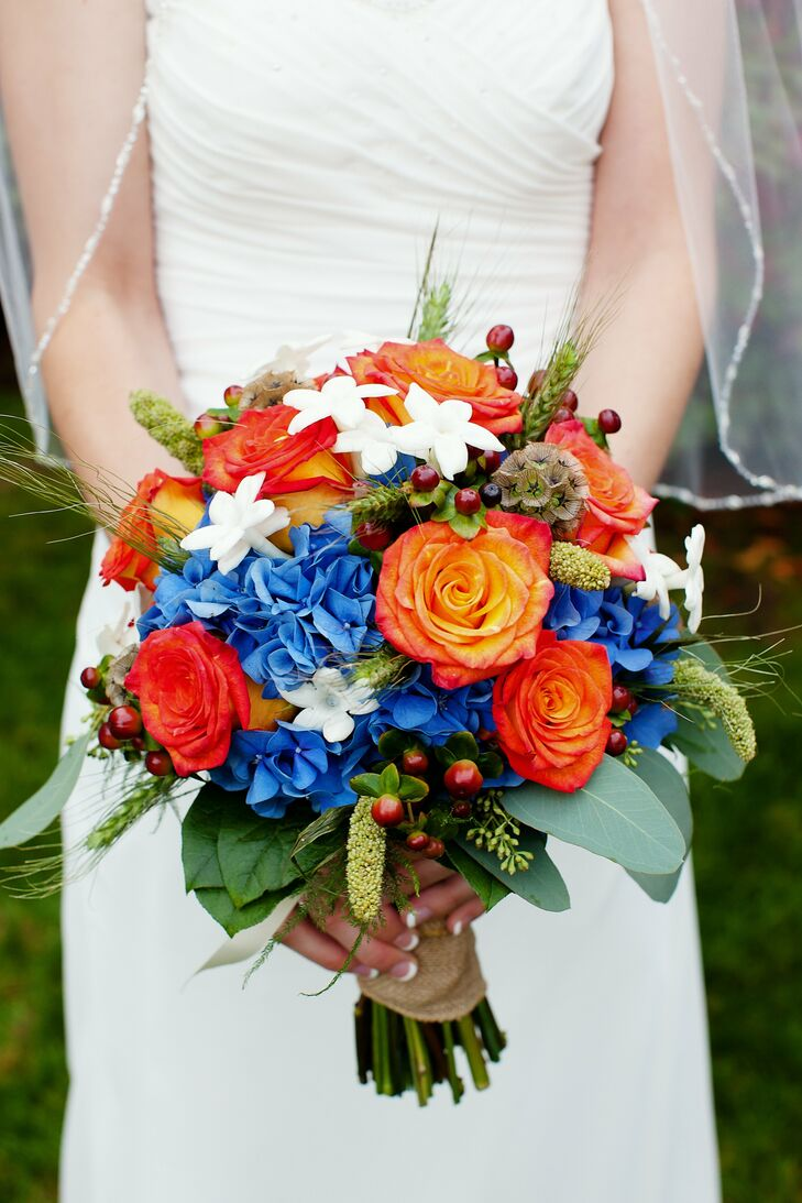 orange and blue bridal bouquet. Black Bedroom Furniture Sets. Home Design Ideas