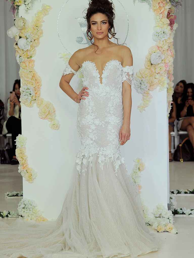 Julie Vino Fall 2018 off-the-shoulder trumpet-style wedding dress