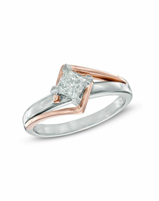 Zales 1/2 CT. Princess-Cut Diamond Solitaire Engagement Ring in 14K Two-Tone Gold Engagement Ring photo