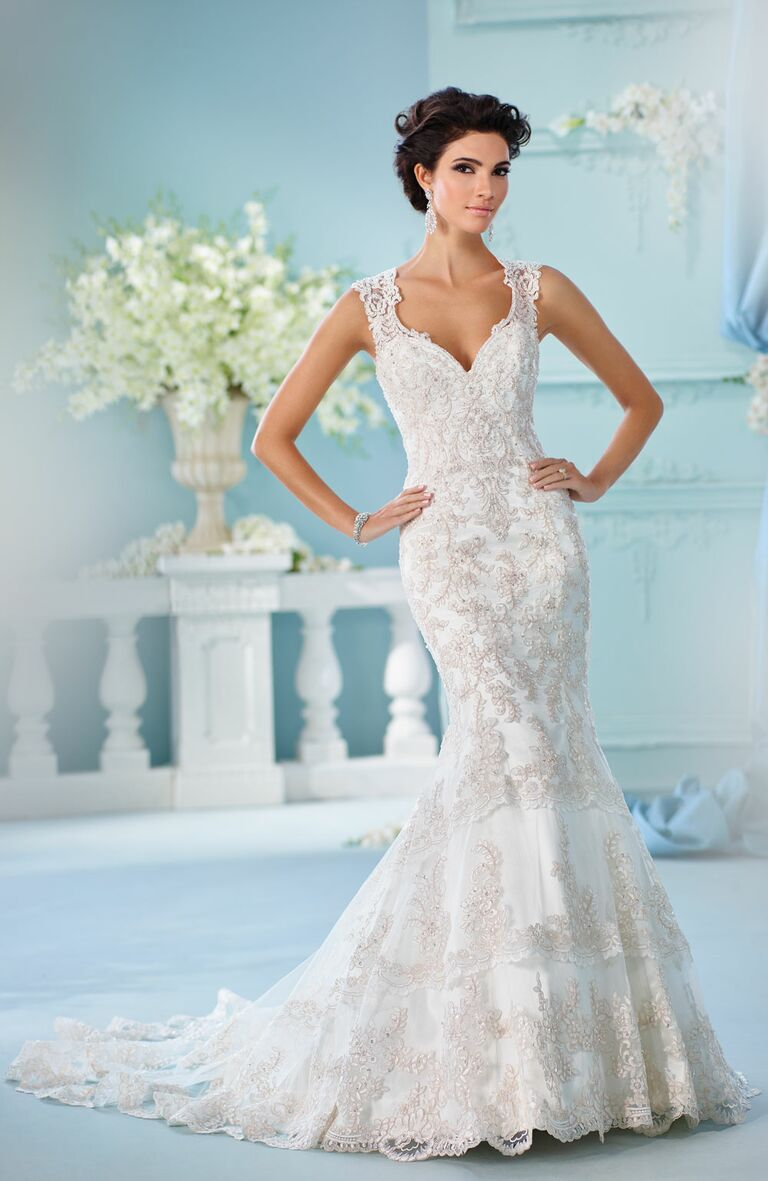 David tutera spring 2017 collection bridal fashion week photos david tutera spring 2017 sleeveless mermaid wedding dress with paisley beading and tiered lace trumpet skirt junglespirit Image collections
