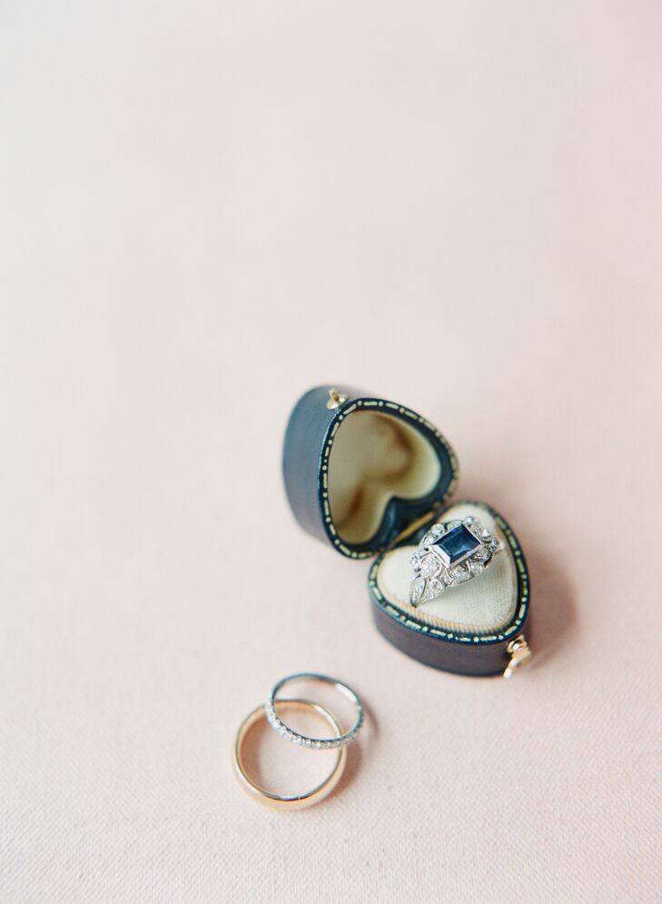 """I wore my grandmother's sapphire and diamond ring that she had given me as my something blue,"" Lynn says. ""She couldn't be with us on our big day, since she passed in 2011, but the last time I saw her I told her it would be my something blue, and she got a bit teary and it was an emotional, lovely moment between us. It was a wonderful way for her to be with us on our big day."""
