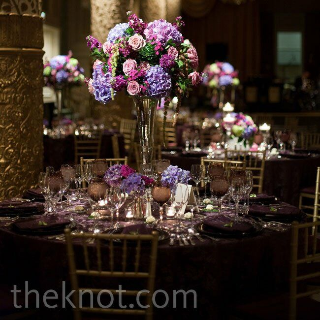 Purple hydrangea centerpiece