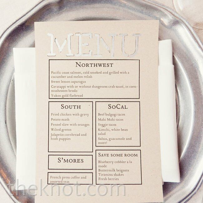 Using the same font that appeared on the invitations, Jess designed the menu cards with black and silver type on beige paper.