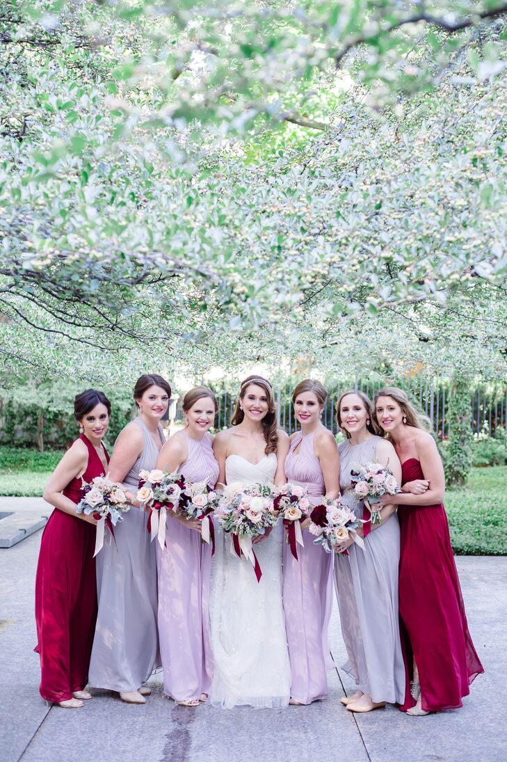 Blush, Gray and Burgundy Bridesmaid Dresses