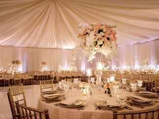 Draped ceiling wedding reception