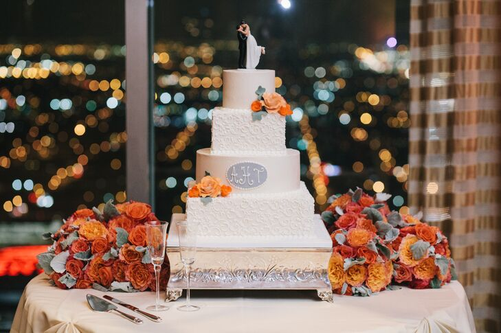 Round and Square Tier White Wedding Cake at Petroleum Club