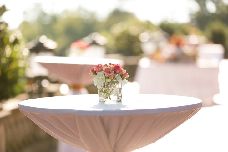 Pink Rose and Hydrangea Cocktail Hour Centerpieces