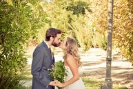 The surrounding area outside of the Prince of Peace Church in Woodland Hills, California, wasn't the only earthy element of the wedding day. With a co