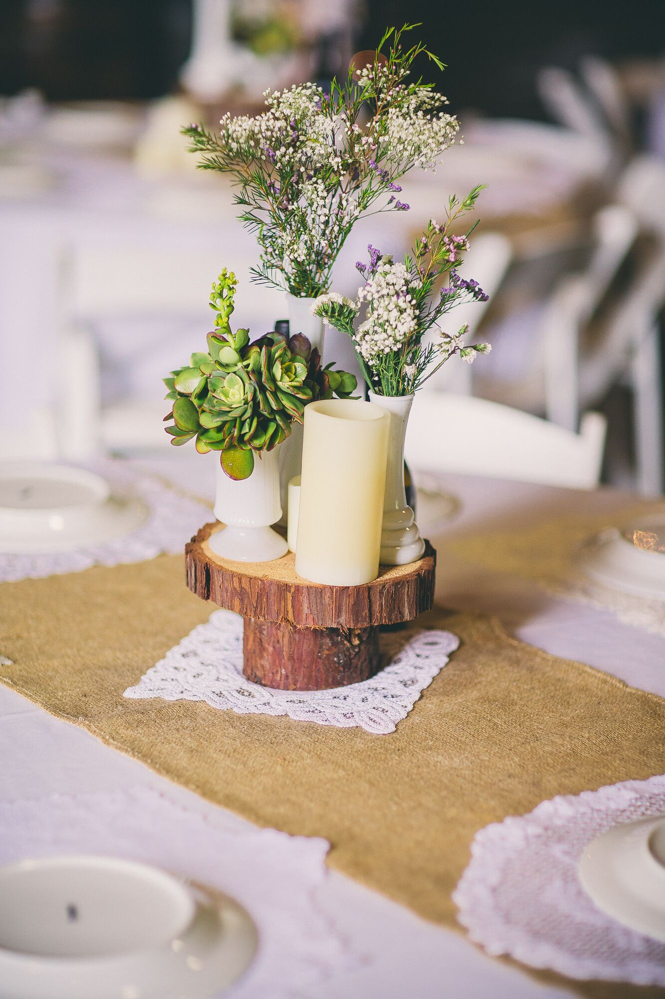Succulent And Baby S Breath Wooden Centerpiece
