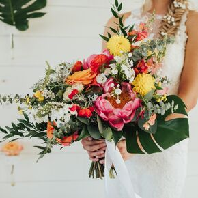 Spring wedding bouquets bold banana leaf bouquet mightylinksfo Image collections