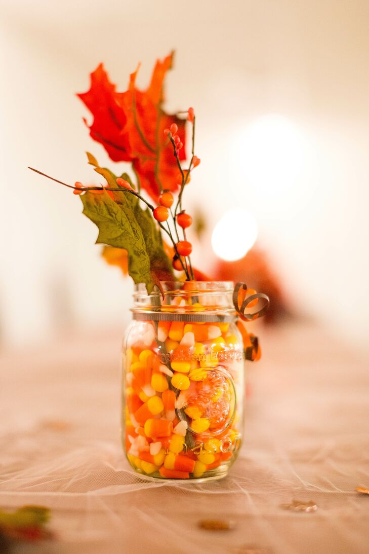 Diy candy corn and fall leaf centerpieces