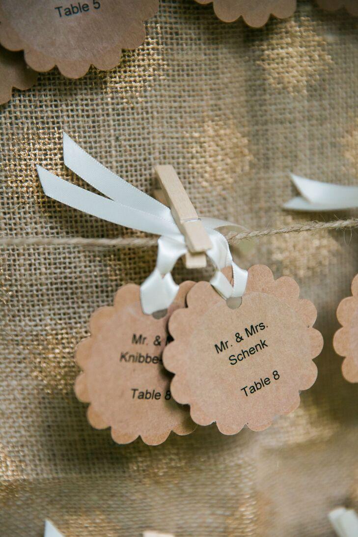 Ribbon Tied Neutral Flower Escort Cards