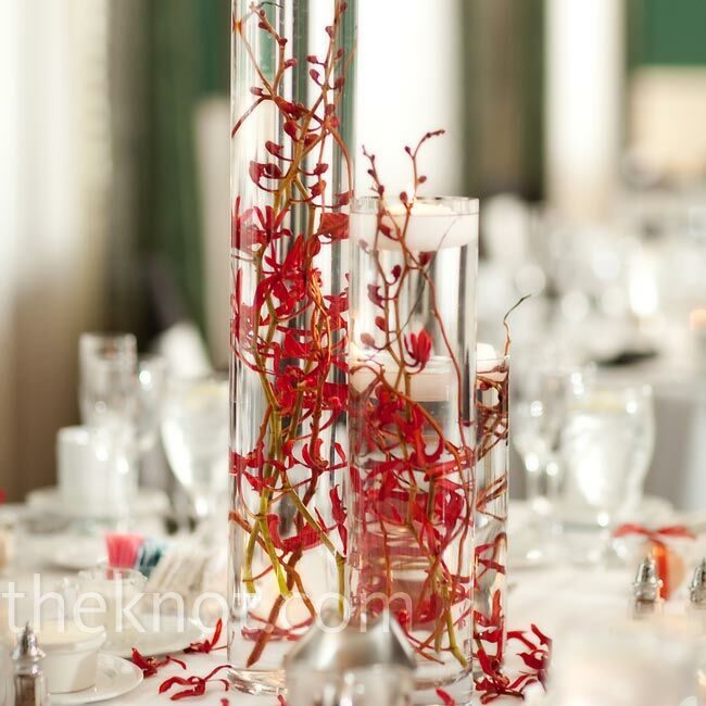 Red orchid centerpieces