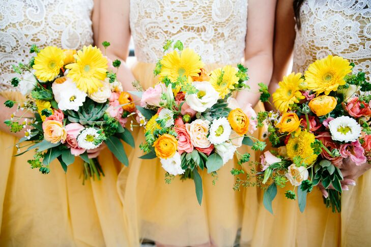 The bridesmaids carried yellow gerbera daisies, orange ranunculus, pink roses, white lisianthus, green seeded eucalyptus and plenty of leafy wildflowers in their lush bouquets. Katie and Matt wanted their wedding to be full of retro prints and farmers' market flowers for a textured, colorful look.