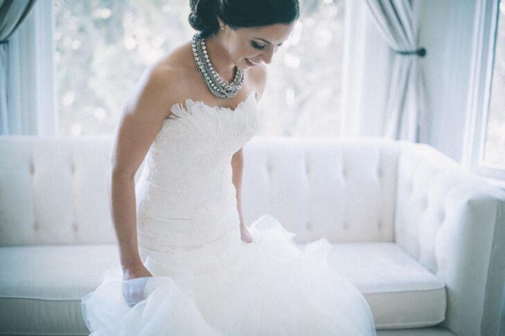 bride wearing statement necklace