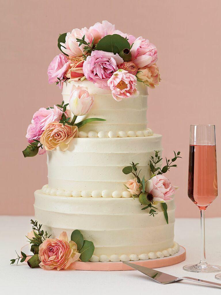 Baked NYC Fresh Flowers Wedding Cake