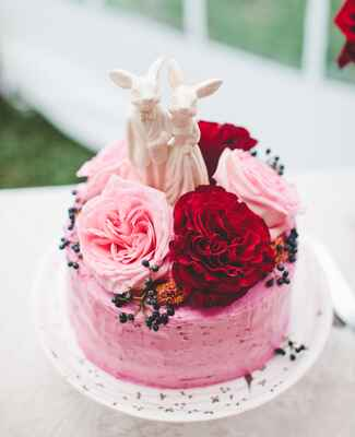 pink and red rose wedding cake | Tim Sparrow Studio | blog.theknot.com