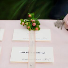 Simple Classic Escort Cards With Blush Ribbon