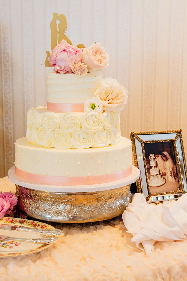 Three-Tier Cannoli Cake With Ivory Rosettes