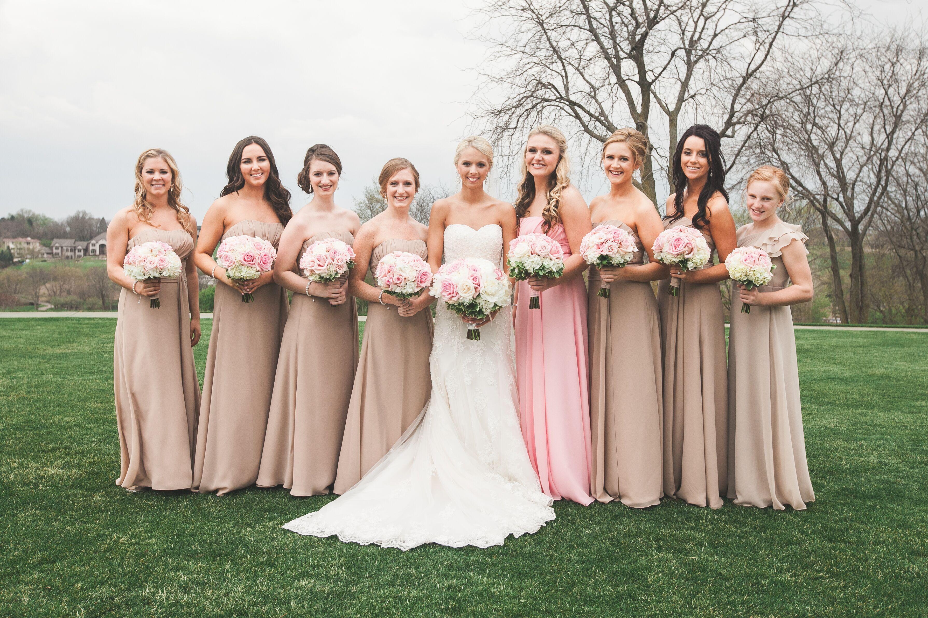Champagne and Blush Bridesmaid Dresses