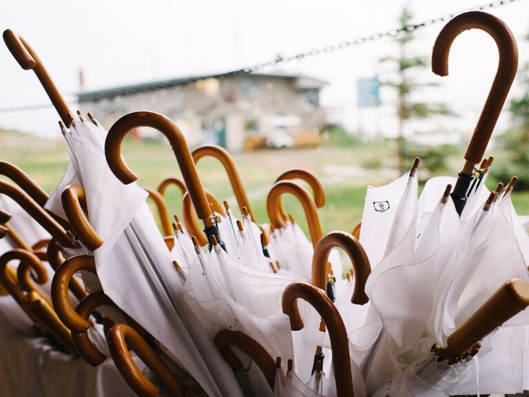 Umbrellas for a rainy wedding