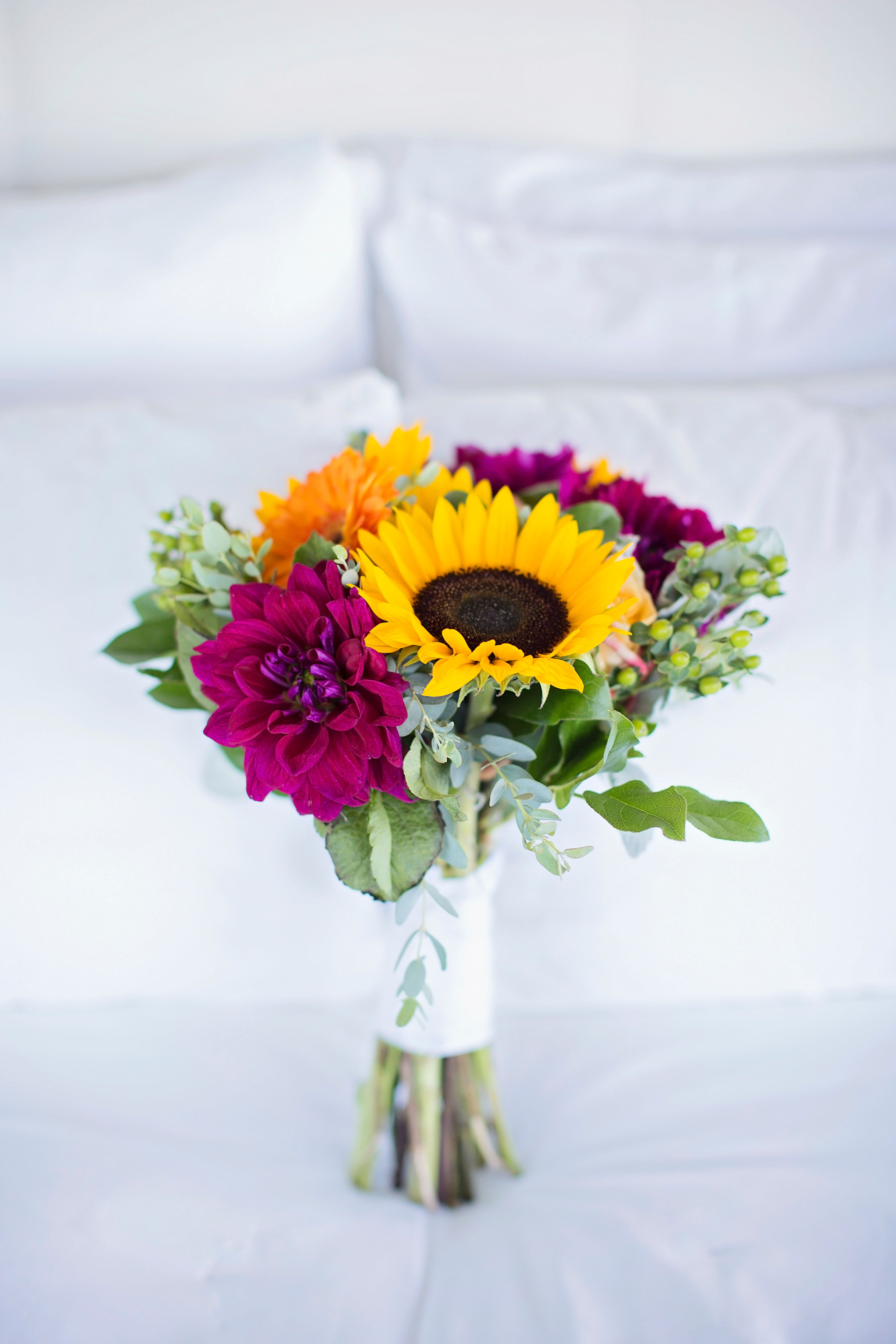 Magenta Dahlia Sunflower And Gerbera Daisy Bridal Bouquet