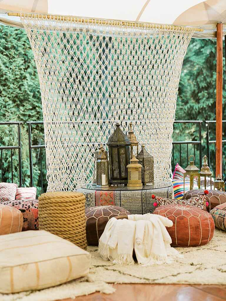 Moroccan-themed tented wedding lounge