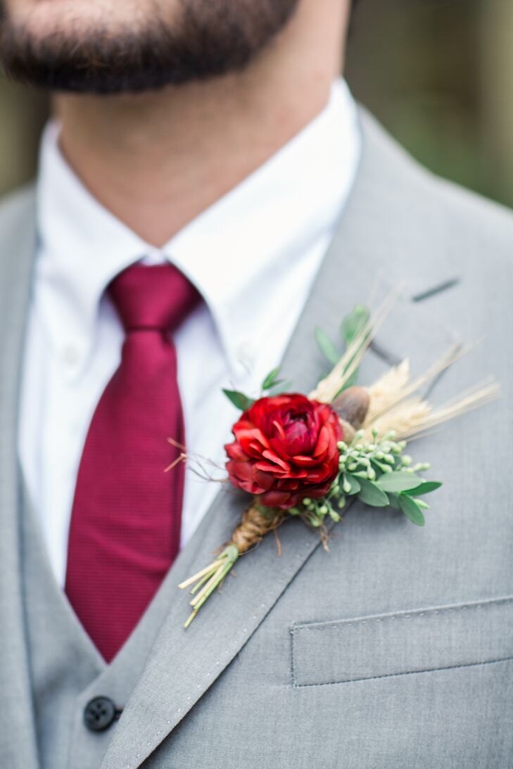 Red Ranunculus and Wheat Boutonniere