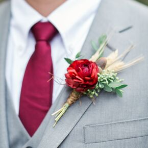 Colorful boutonniere and polka dot pocket square red ranunculus and wheat boutonniere junglespirit