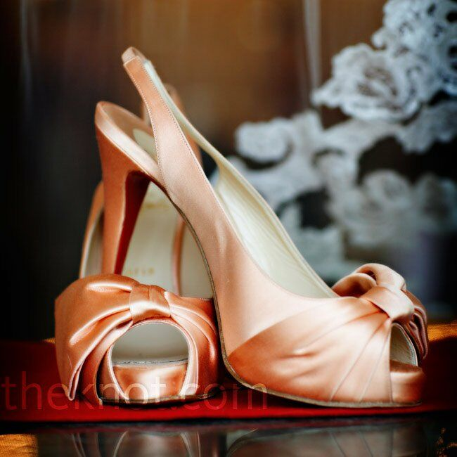 peach wedding shoes bridal shoes 6411