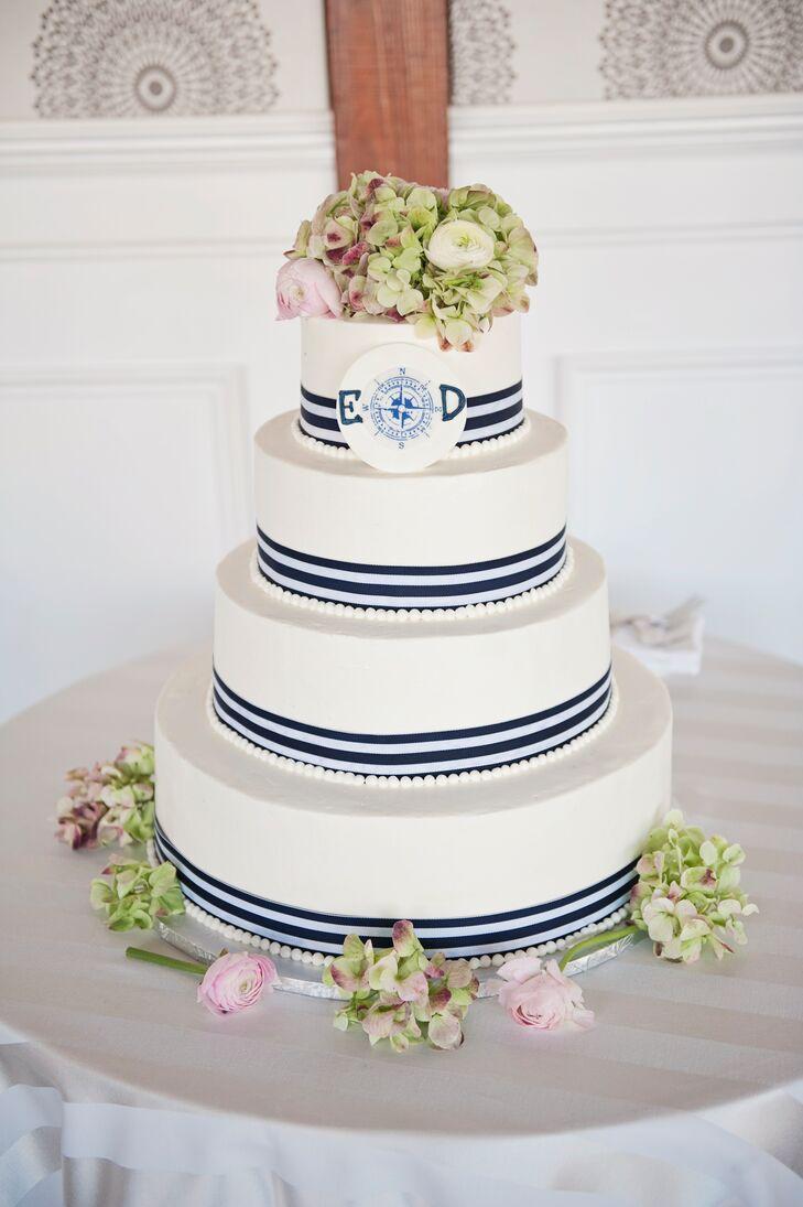 Four Tier Nautical Themed Wedding Cake