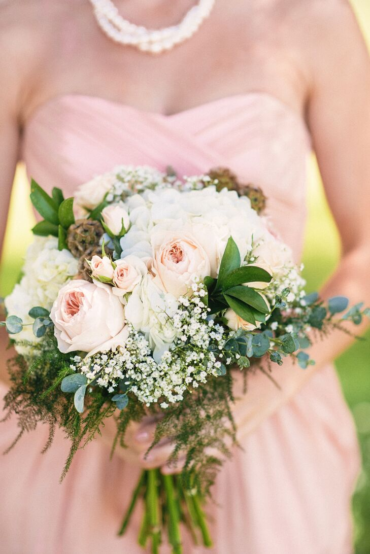 Bouquet With Babys Breath Peonies And Hydrangea