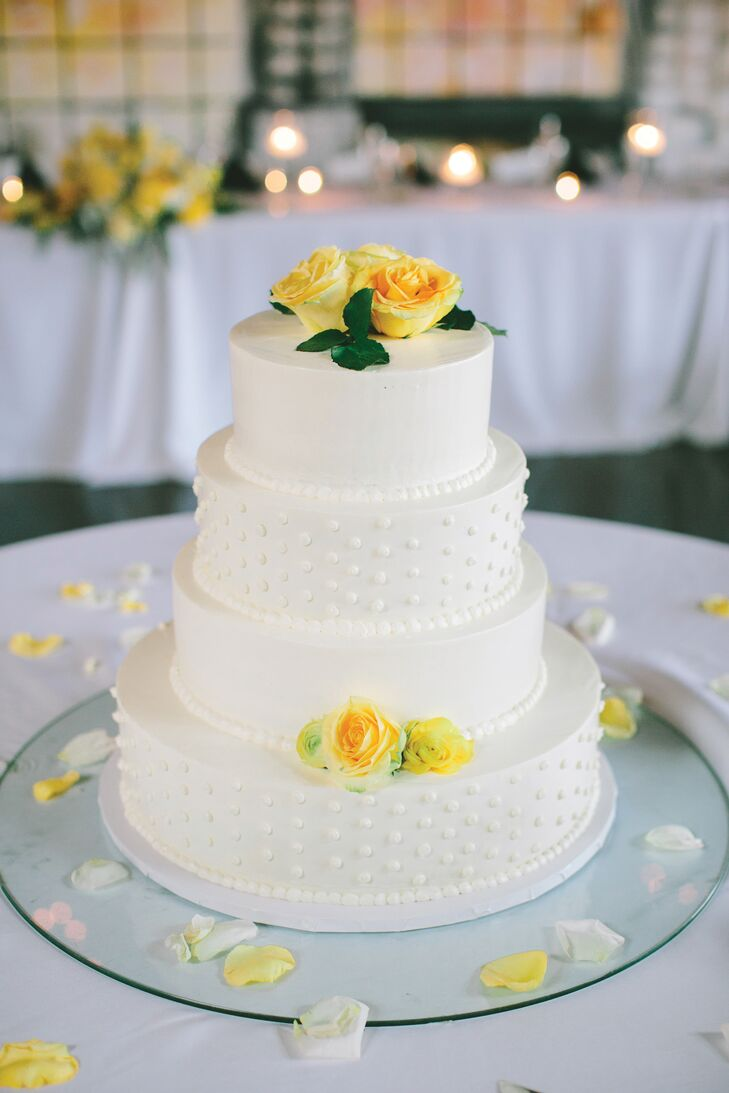 White buttercream cake with yellow flowers mightylinksfo