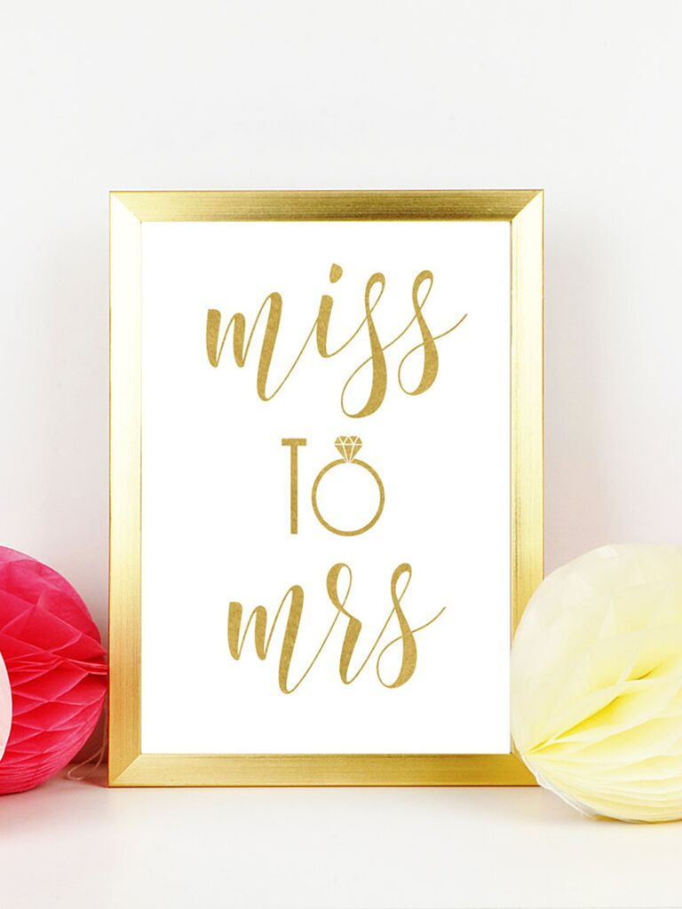 Printable Miss To Mrs Sign For A Bachelorette Party