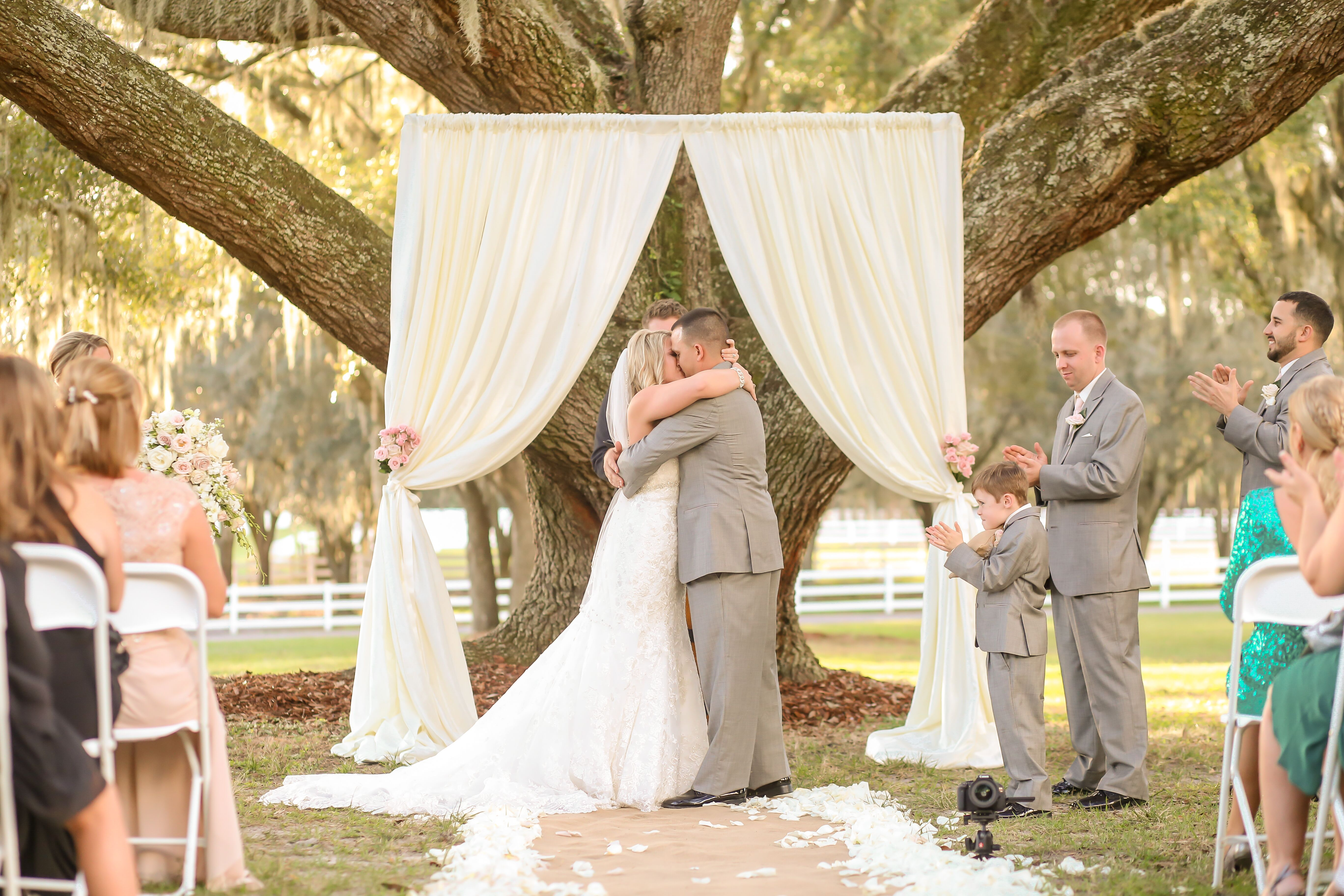 Simple Ivory Fabric Draped Wedding Arch