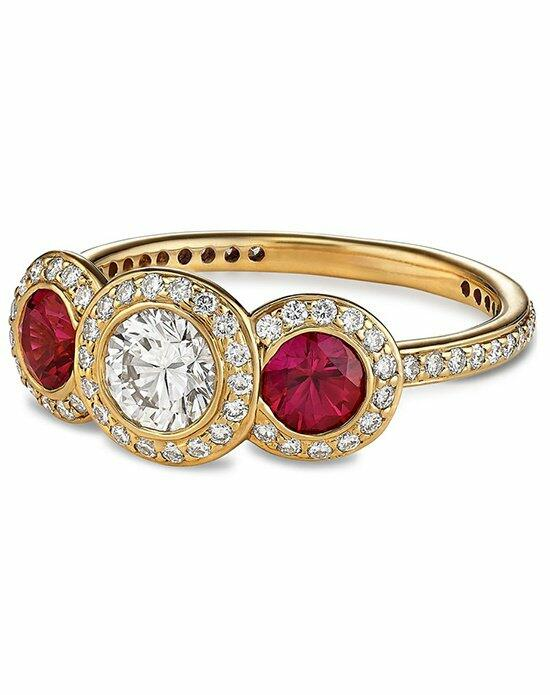Ritani Three-Stone Diamond and Ruby Halo Ring in 18kt Yellow Gold (0.85 CTW) Engagement Ring photo