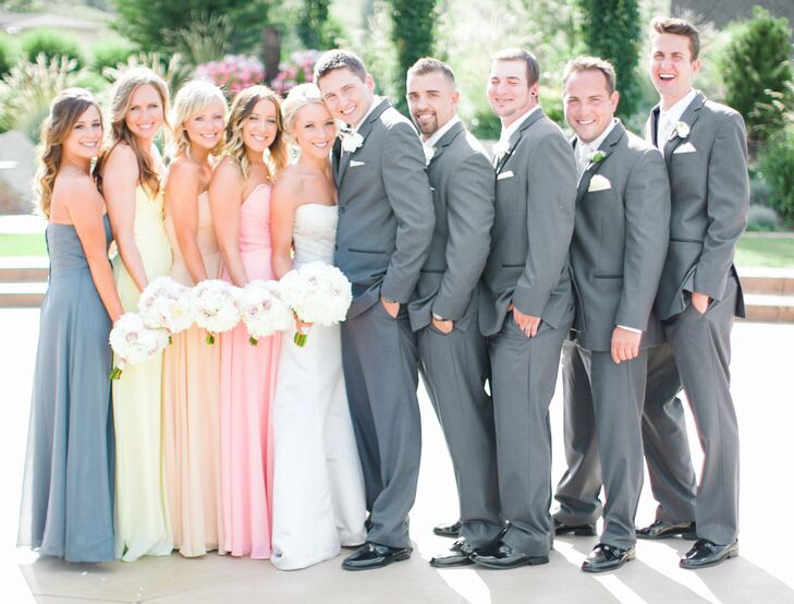 Light Gray and Pastel Bridal Party