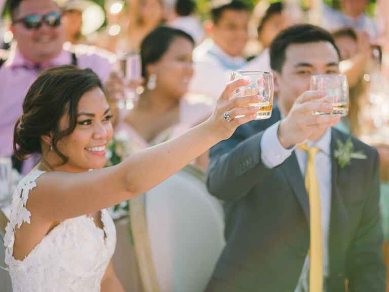 Bride and groom toast guests at wedding reception