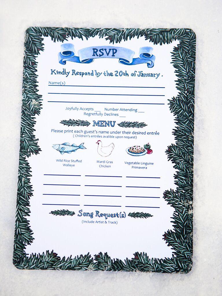Winter wedding invitation ideas hand illustrated winter wedding rsvp monicamarmolfo Choice Image