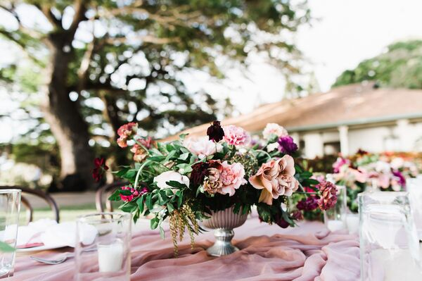 Bohemian Cascading Pink And Burgundy Centerpiece