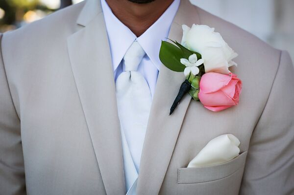 White and Pink Rose Boutonniere