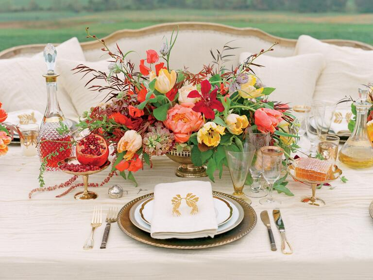 Cer Flowers In Silver Bo For A Vintage Style Centerpiece Without The Vase