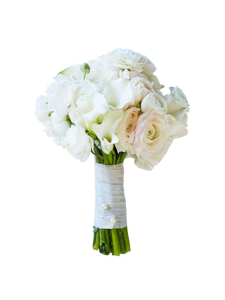 white ranunculus and calla lilies wedding bouquet - White Garden Rose Bouquet