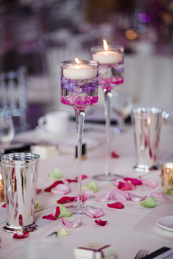 Purple Orchid Filled Floating Candle Centerpieces