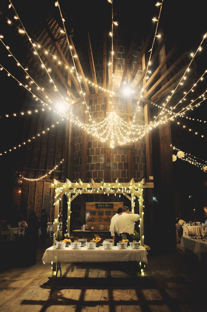 Gorgeous Rustic Bar with String Lights at the Historic Round Barn