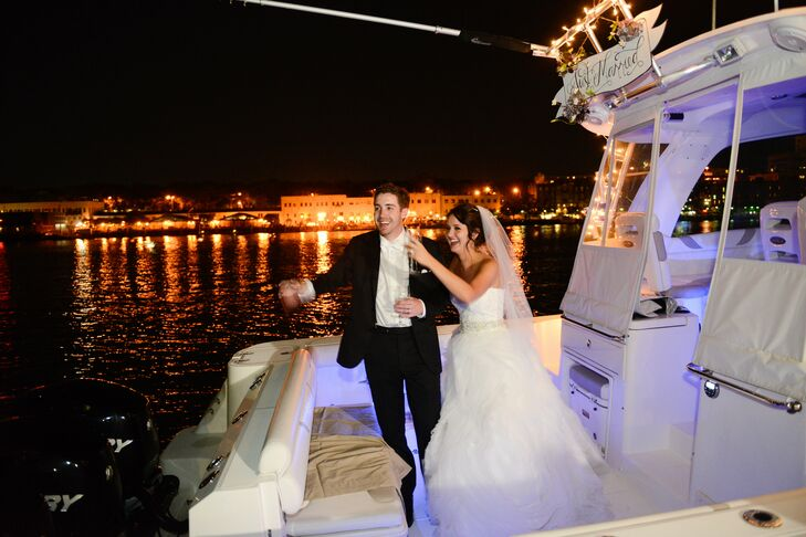 "At the end of the night, Amanda and Chris had one final surprise: Their grand exit on a boat. ""It was a nice touch, since we both grew up on the coast,"" Amanda says."